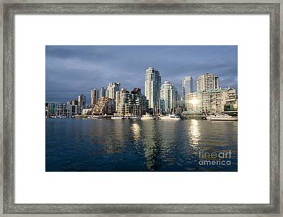 Beach Avenue Downtown Vancouver At Sunset Bc Canada Framed Print by Andy Smy