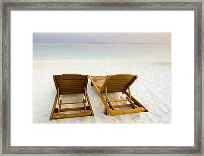 Beach Chairs, Maldives Framed Print by Ulana Switucha