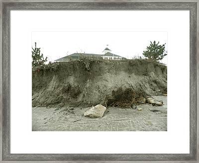 Beach Erosion At Narragansett Town Beach Framed Print by Kate Gallagher
