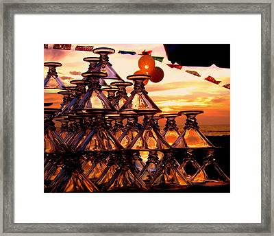 Beach Glass Reflections Framed Print by Cindy Wright