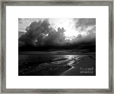 Beach In Black And White Framed Print by Jeff Breiman