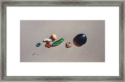 Beach Stones Framed Print by Elena Kolotusha