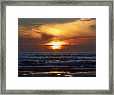 Beach Sunset  Framed Print by Pamela Patch