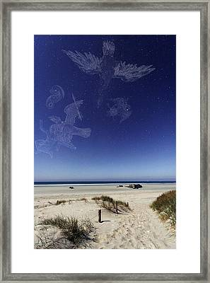 Beach Under A Full Moon Framed Print by Laurent Laveder