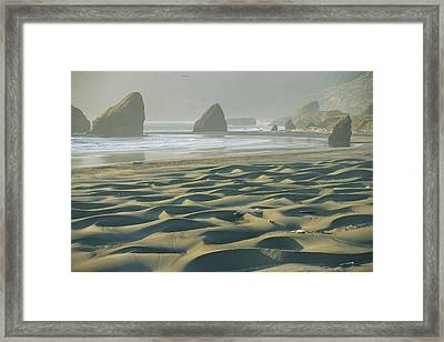 Beach With Dunes And Seastack Rocks Framed Print by Skip Brown