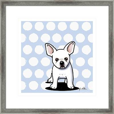 Beachy In Blue Bulldog Framed Print by Kim Niles