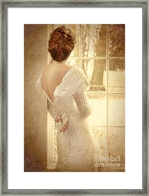 Beautiful Lady In Sequin Gown Looking Out Window Framed Print by Jill Battaglia