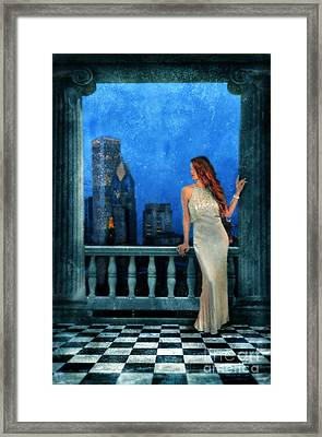 Beautiful Woman In Evening Gown With City Night View Framed Print by Jill Battaglia