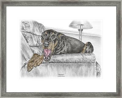 Bedtime - Doberman Pinscher Dog Print Color Tinted Framed Print by Kelli Swan