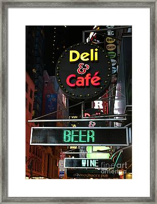 Beer And Wine At The New York Deli Framed Print by Lee Dos Santos