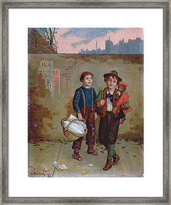 Beggars And A Monkey Framed Print by Augustus Edward Mulready