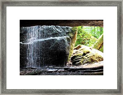Behind The Waterfall Framed Print by Beverly Kobee