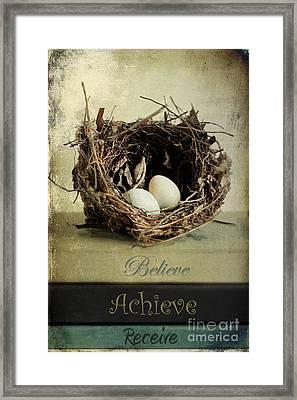Believe Achieve Receive Framed Print by Darren Fisher