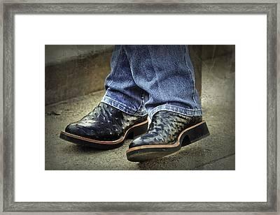 Bennys Boots Framed Print by Joan Carroll
