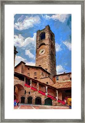 Bergamo Bell Tower Framed Print by Jeff Kolker