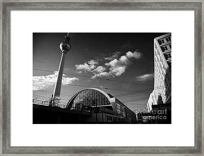 berliner fernsehturm Berlin TV tower symbol of east berlin and the Alexanderplatz railway station Framed Print by Joe Fox
