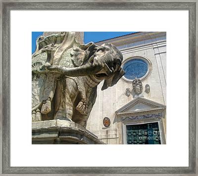 Bernini Elephant Statue And Santa Maria Sopra Minerva Framed Print by Gregory Dyer