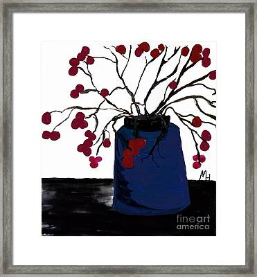 Berry Twigs In A Vase Framed Print by Marsha Heiken