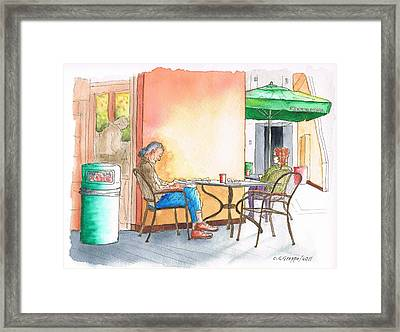 Better Alone... In Starbucks At 8000 Sunset Blvd - West Hollywood - California Framed Print by Carlos G Groppa