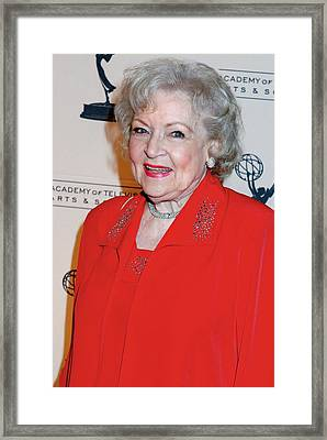Betty White At Arrivals For The Academy Framed Print by Everett