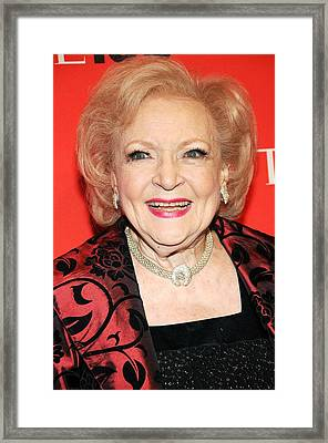 Betty White At Arrivals For Time 100 Framed Print by Everett