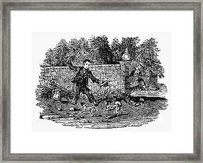 Bewick: Boy With Dogs Framed Print by Granger