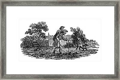 Bewick: Man Carrying Man Framed Print by Granger