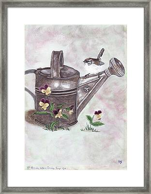 Bewicks Wren And Johnny-jump-ups Framed Print by Freda Gudopp