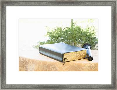 Bible And Microphone On Table Framed Print by Ned Frisk
