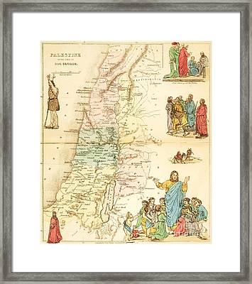 Biblical Map Palestine Framed Print by Pg Reproductions