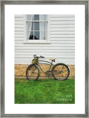 Bicycle By House Framed Print by Jill Battaglia