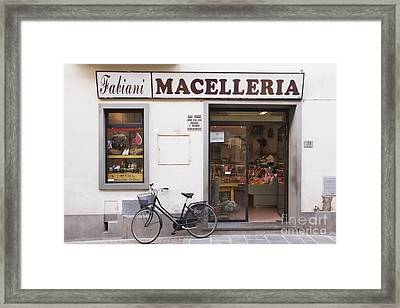 Bicycle In Front Of Italian Delicatessen Framed Print by Jeremy Woodhouse