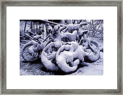Bicycles Covered With Snow Framed Print by Garry Gay
