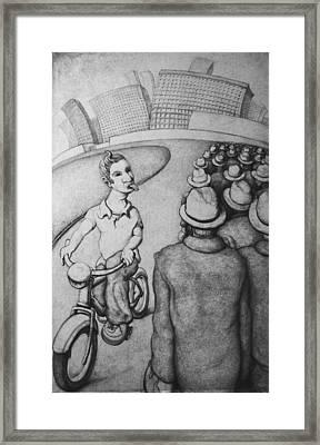 Bicyclist Framed Print by Louis Gleason
