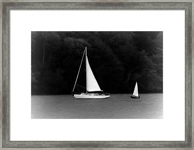 Big Sailboat Little Sailboat Framed Print by Tracie Kaska