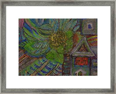 Big Trees And Little House Framed Print by Anne-Elizabeth Whiteway