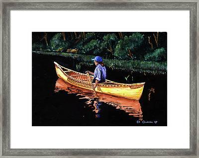 Birch-bark Canoe Framed Print by Edward Coumou