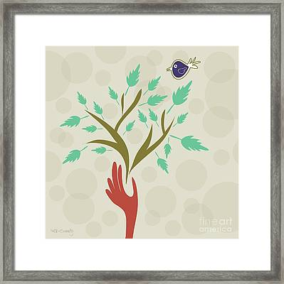 Bird And Branch Framed Print by HD Connelly