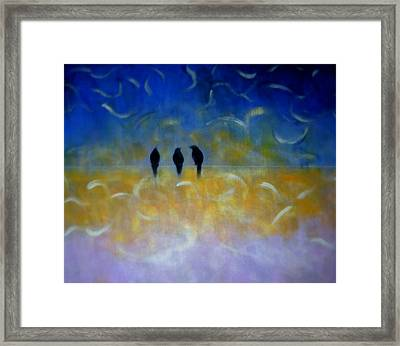 Birds On The Wire Framed Print by Joseph Ferguson