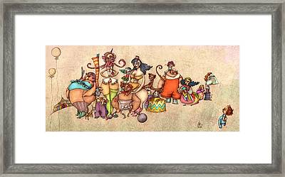 Bizarre Circus People Framed Print by Autogiro Illustration