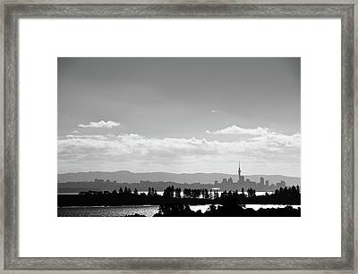 Black And White Skyline Of Auckland, New Zealand Framed Print by Justin Hoffmann Photography
