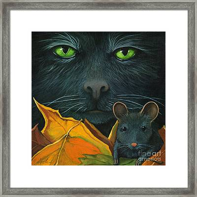 Black Cat And Mouse Framed Print by Linda Apple