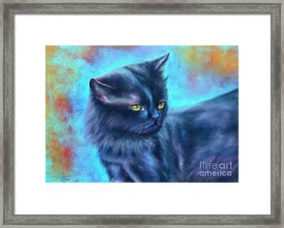 Black Cat Color Fantasy Framed Print by Gabriela Valencia