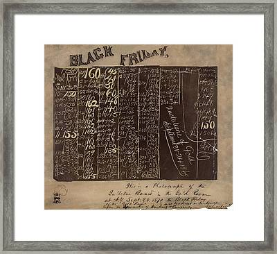 Black Friday Gold Prices, 1869 Framed Print by Library Of Congress