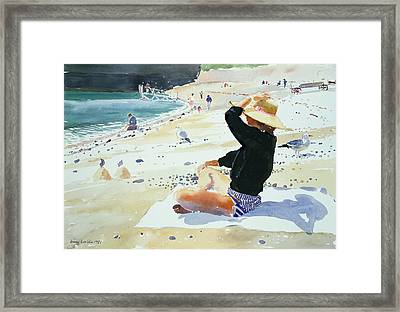 Black Jumper Framed Print by Lucy Willis