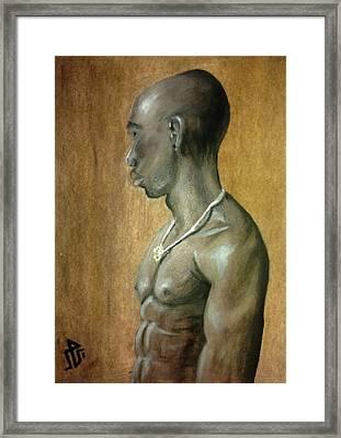 Black Man Framed Print by Baraa Absi