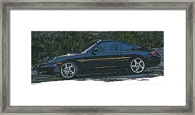 Black Porsche Carrera 2 Framed Print by Samuel Sheats