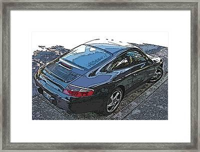 Black Porsche Carrera Framed Print by Samuel Sheats