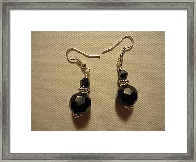 Black Sparkle Drop Earrings Framed Print by Jenna Green
