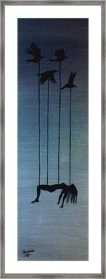 Blackbird And The Girl Framed Print by Edwin Alverio